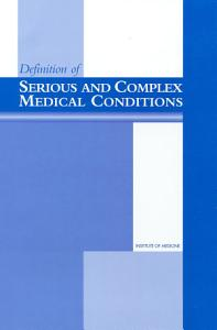Definition of Serious and Complex Medical Conditions Book