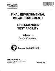 Dugway Proving Ground  Biological Aerosol Test Facility Construction and Operation D  New Alternative Action to Construct and Operate a Consolidated Life Sciences Test Facility PDF