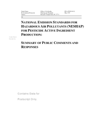National emission standards for hazardous air pollutants  NESHAP  for pesticide active ingredient production background information for promulgated standards   summary of public comments and responses PDF