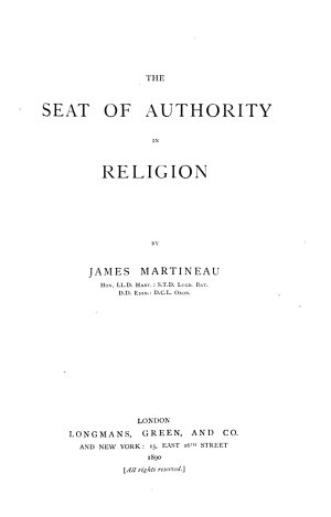 The Seat of Authority in Religion