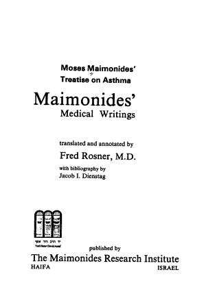 Moses Maimonides' Treatise on Asthma