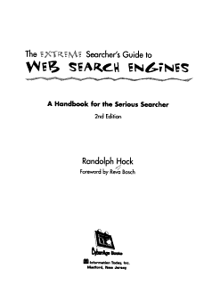The Extreme Searcher s Guide to Web Search Engines Book