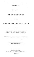 Journal of the Proceedings of the House of Delegates of the State of Maryland PDF