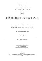 Annual Report of the Commissioner of Insurance for the State of Michigan PDF