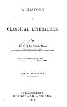 History of Classical Literature  Greek Literature PDF