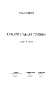PARLONS L'ARABE TUNISIEN: Langue et culture