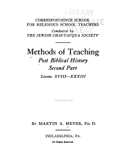 Methods of Teaching Post Biblical History: Part 2