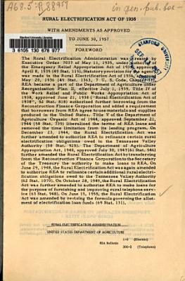 Rural Electrification Act of 1936, with Amendments