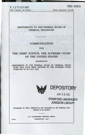 Amendments To The Federal Rules Of Criminal Procedure  H  Doc  No  113 162  Nov  12  2014  113 2 PDF