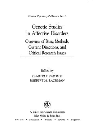 Genetic Studies in Affective Disorders PDF