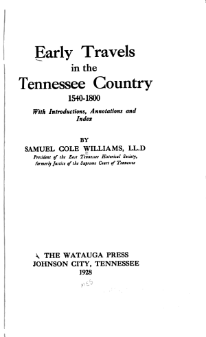 Early Travels in the Tennessee Country  1540 1800 PDF
