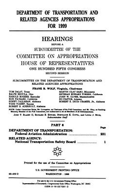 Department of Transportation and Related Agencies Appropriations for 1999  Department of Transportation  Federal Aviation Administration
