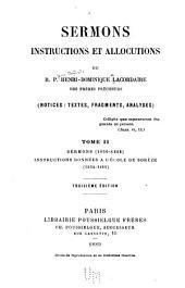 Sermons (1850-1856) Instructions données à l'école de Sorèze (1854-1861)