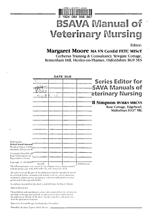 BSAVA Manual of Veterinary Nursing