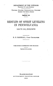 Results of spirit leveling in Pennsylvania: 1899 to 1911, inclusive, Issue 515