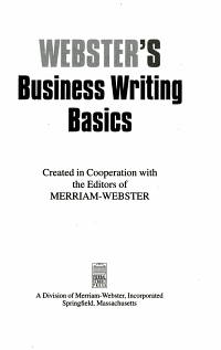 Webster s Business Writing Basics