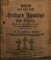 Lobrede auf das Fest des heiligen Ignatius Lojola