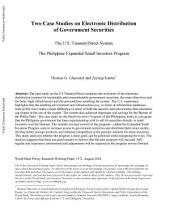 Two Case Studies on Electronic Distribution of Government Securities: The U.S. TreasuryDirect System : The Philippine Expanded Small Investors Program