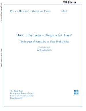 DoesIt Pay Firms to Register for taxes  The Impact of Formality on Firm Profitability PDF