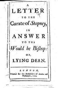 A Letter to the Curate of Stepney Book