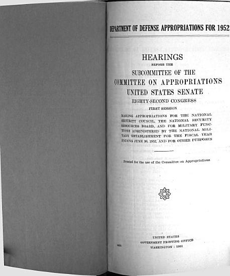 Department of Defense Appropriations for 1952  Hearings Before     82 1 PDF