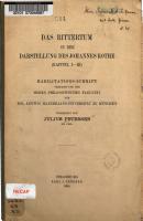 Das Rittertum in der Darstellung des Johannes Rothe PDF