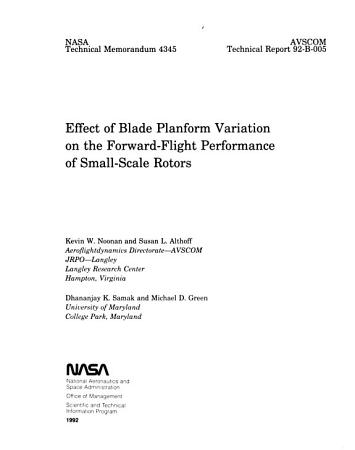 Effect of Blade Planform Variation on the Forward flight Performance of Small scale Rotors PDF
