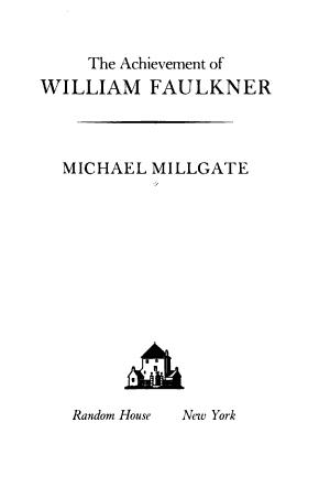 The Achievement of William Faulkner PDF