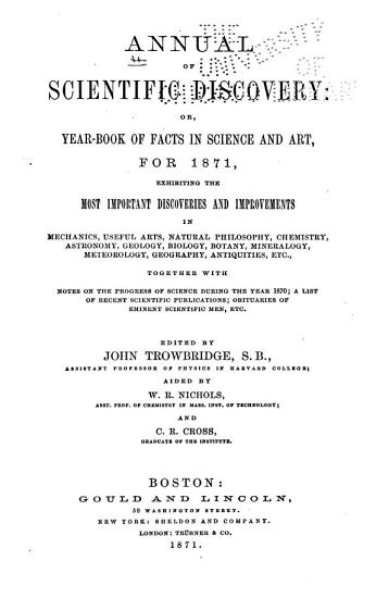 Annual of Scientific Discovery  Or  Year book of Facts in Science and Art for     PDF