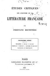 Études critiques sur l'histoire de la littérature française: 3e série