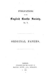Publications of the English Goethe Society: Volume 5