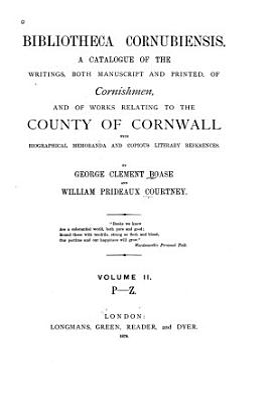 Bibliotheca Cornubiensis  P Z PDF