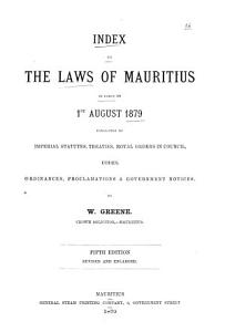Index to the Laws of Mauritius in Force on 1st August 1879 PDF