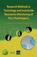 Research Methods in Toxicology and Insecticide Resistance Monitoring of Rice Planthoppers PDF