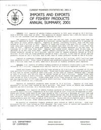 Imports and exports of fishery products  annual summary