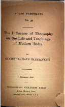 The Influence of Theosophy on the Life and Teachings of Modern India