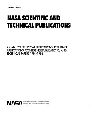NASA Scientific and Technical Publications  A Catalog of Special Publications  Reference Publications  Conference Publications  and Technical Papers  1991 1992 PDF