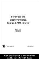 Biological and Bioenvironmental Heat and Mass Transfer PDF
