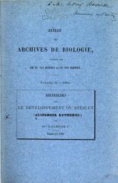 Recherches sur le développement du sterlet (Acipenser ruthenus)