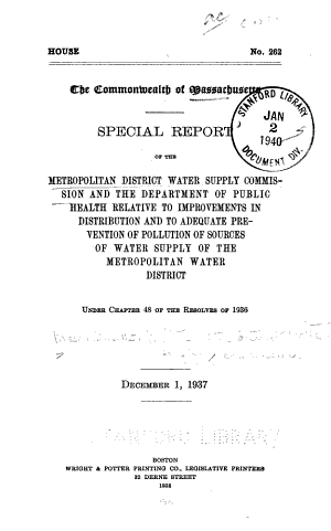 Special Report of the Metropolitan District Water Supply Commission and the Department of Public Health Relative to Improvements in Distribution and to Adequate Prevention of Pollution of Sources of Water Supply of the Metropolitan Water District
