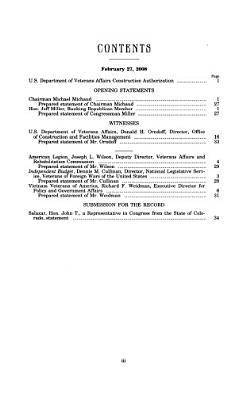 U S  Department of Veterans Affairs Construction Authorization