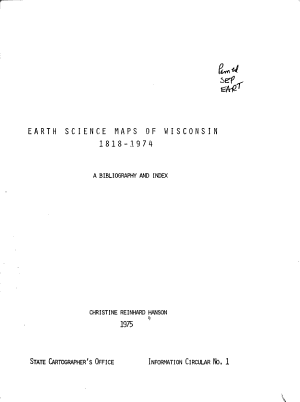 Earth Science Maps of Wisconsin 1818 1974 PDF
