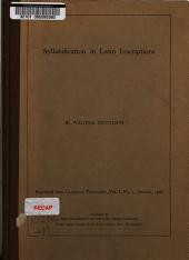 Syllabification in Latin Inscriptions