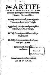Artificium dialecticum et rhetoricum in tres orationes ex Livio et Cierone