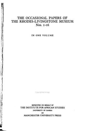 The Occasional Papers of the Rhodes Livingstone Museum