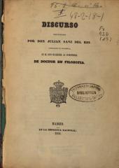 La cuestión de la filosofía novísima: Discurso pronunciado... en el acto de recibir la investidura de Doctor en Filosofía