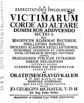 Exercitationis philol. de victimarum corde ad altare Domini non adducendo, Sectio I.