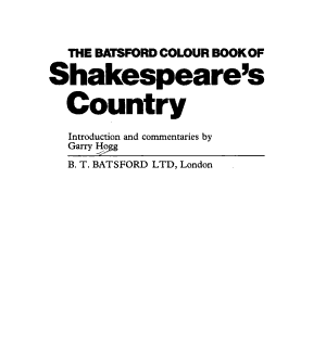 The Batsford Colour Book of Shakespeare s Country