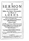 A Sermon Preached Before The Right Honourable The House Of Lords