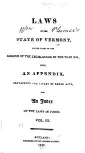 Laws of the State of Vermont: Volume 3